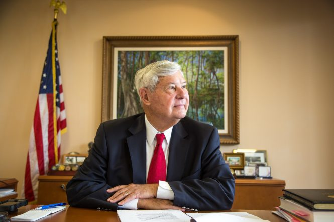 Former Senator Bob Graham, seen here in his Miami Lakes office, continues his crusade to get secret pages of the initial Sept. 11 report released. Graham, who was chairman of the Senate Intelligence Committee. was a leader of the inquiry. He has called for the release of the report's Part 4, which dealt with Saudi Arabia, since President George W. Bush ordered it classified when the rest of the report was released in December 2002.