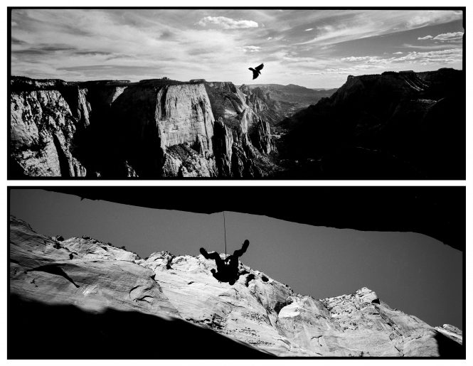 More than two thousand feet above Zion Canyon, a bird whips past Observation Point free to ride the currents and drafts, while a rock climber is suspended but still tethered to earth in slot canyon of the Kolob Canyons section of Zion National Park. While our National Parks give us the freedom to explore and push ourselves as individuals, we are still limited by our human form and reminded of its fragility.