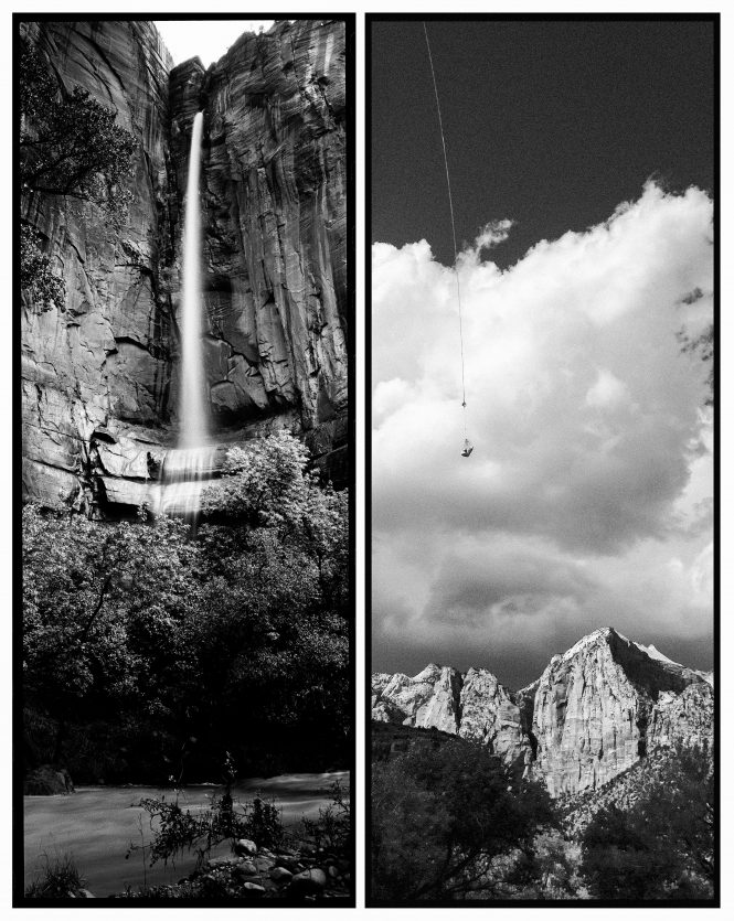 The body of a hiker killed in a flash flood, right, is suspended from a helicopter as it is recovered from a difficult-to-access slot canyon and flown past the grand mountains that frame the entrance to Zion Canyon. It was a sobering and public, yet intimately private moment. Seven hikers had died in a flash flood while canyoneering, an activity that involves repelling into narrow slot canyons. In contrast, a graceful waterfall that only appears when there is a flood joins the Virgin River at the Temple of Sinawava, the head of the legendary Narrows hike. This pairing most represents the delicate balance between beauty and disaster in an unforgiving landscape.