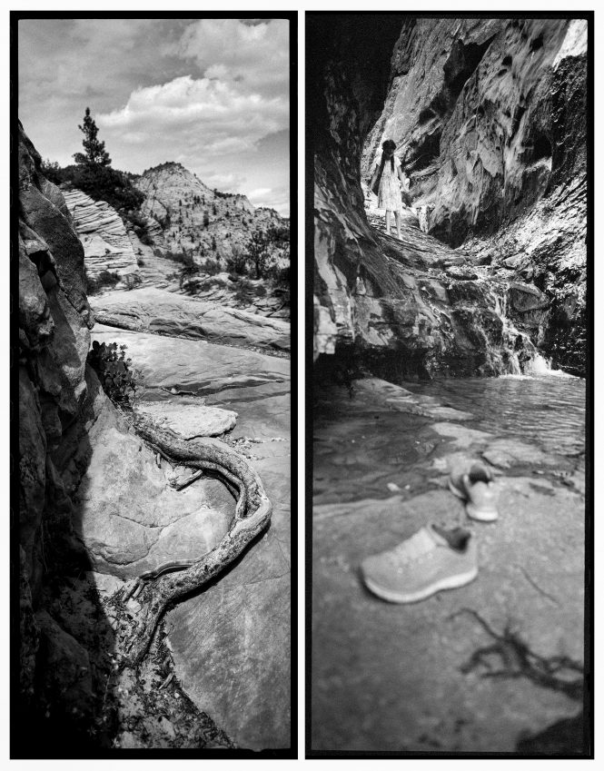 Free to explore, a young girl sheds her shoes to climb a waterfall in Water Canyon near Hildale, Utah, right. On the steep, four-mile trail to Observation Point a root finds a similar, meandering foothold. Life of all kids moves forwards, upwards, towards the light.