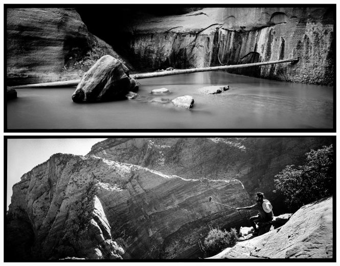A man memorializes his 1,500-foot ascent to Angel's Landing with the instant gratification of a selfie stick. Meanwhile, a log lodges between a boulder and the towering cliffs of the Narrows, awaiting the next flash flood to move it downstream, part of nature's slow but steady progress.