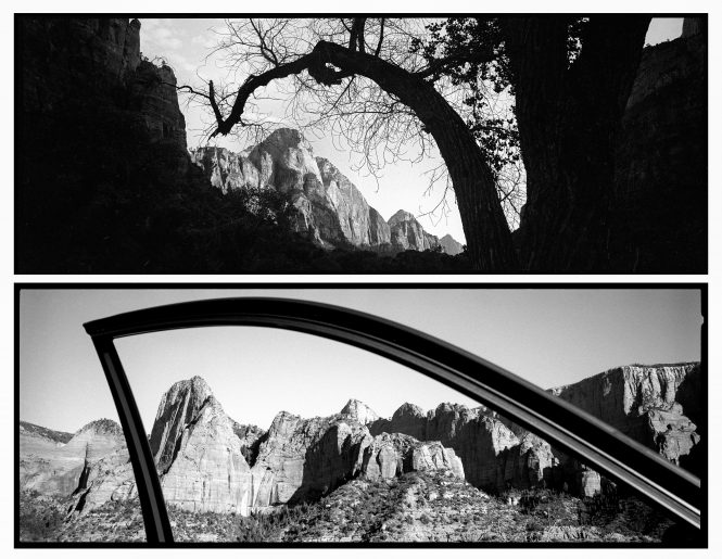 The natural arch of a tree frames a peak in Zion Canyon. In the Kolob Canyons, the arch of a car door frames the view, which is how many people experience our parks, from their car.