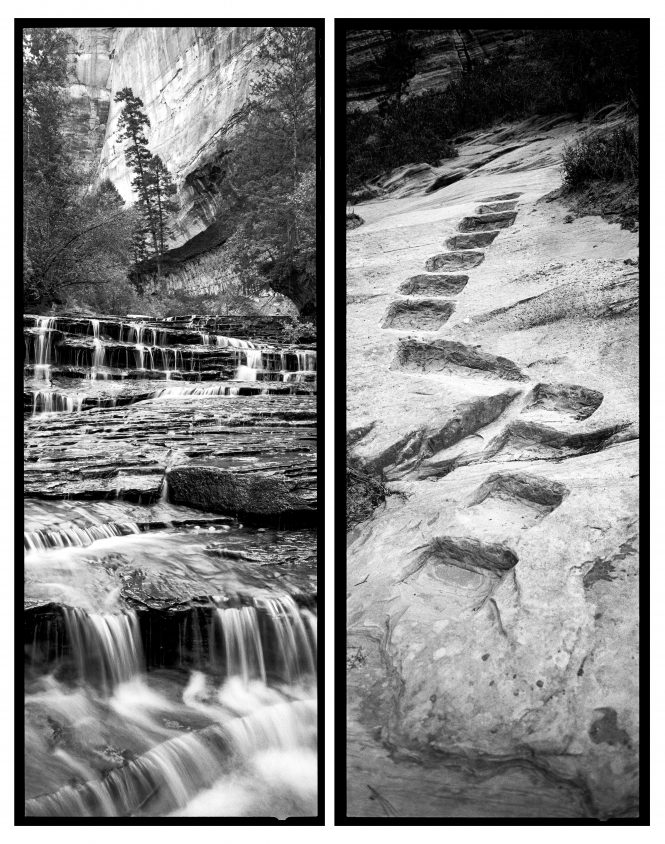 In the permit-only Left Fork canyon, cascading stair-step waterfalls beckon the way to the iconic Subway. Ledges and steps were carved into the stone to lead hikers into Hidden Canyon in a different eraÑ1928. While visitor access has always been a driving force for the National Park Service, the means, in terms of environmental impact, have changed drastically since its inception.