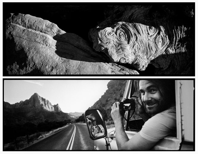 Swirls of burled wood and undulating stone attest to the passage of time in an ancient landscape, while a man driving cross-country passes through, barely stopping to take a few photos.