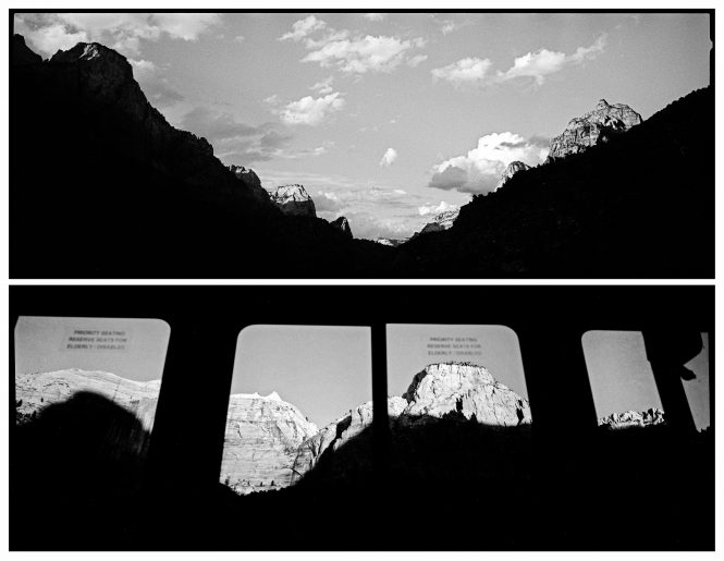The setting sun grazes the mountain tops at the entrance to Zion Canyon. Those same mountains are seen through the windows of a shuttle bus, which has carried into the canyon some of the more than three million visitors who visited in the past year. Congress asked that the parks become more accessible to Americans, but the question is what is lost in the experience, as the scenery sails past bus windows?