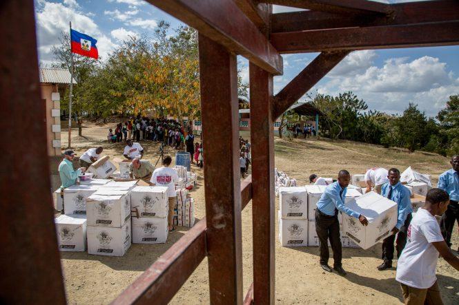 Box of Joy distribution at Mathebonite school in Haiti.