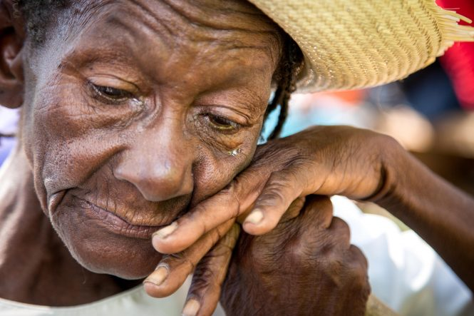 Elonise Josef at the monthly elderly food distribution at Kobonal Mission in Haiti.