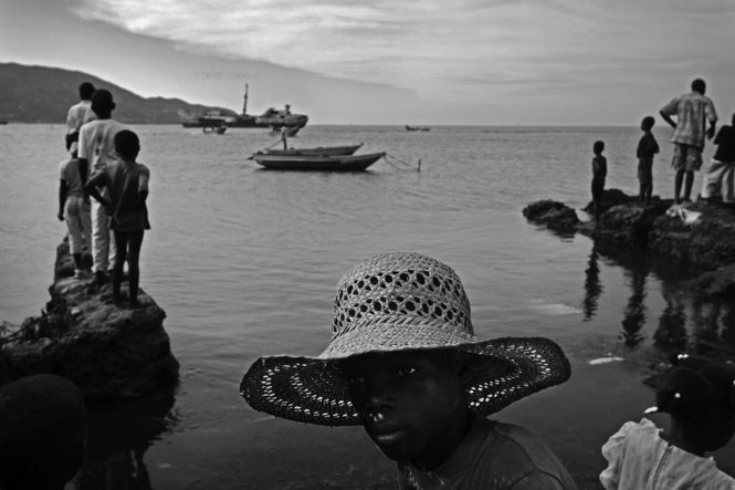 Villagers in Petit Anse, Haiti await the arrival of new fishing boats.